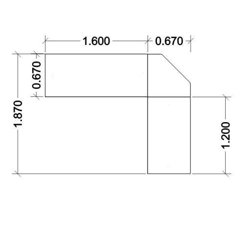 Travido 10 Underside Table Overhead Line Drawing 800mm 670mm Deep