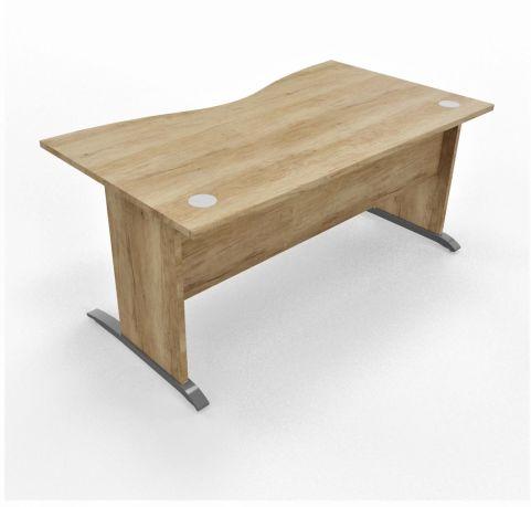 Oslo Double Wave Desk Timber Leg Timber Top Cantiliver Leg Feet