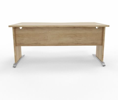 Oslo Double Wave Desk Timber Leg Timber Top Cantiliver Leg