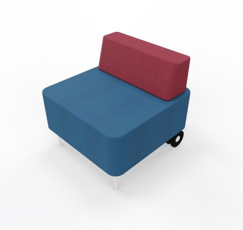 Single Seater With Back Rest Blue Seat Red Back Rest