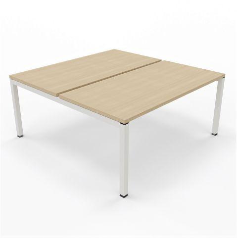 Gateway Two Pesson Bench Unit Maple Tops White Legs