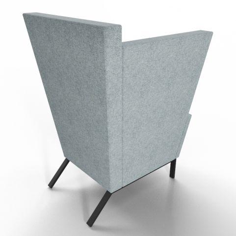 Georgina High Back Acoustic Chair With Grey Fabric - Black Legs