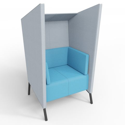 Andreas Upholstered Single High Back Chair In Blue And Grey With Black Legs