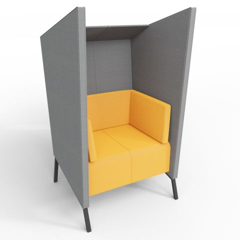 Modern Acoustic High Back Upholstered Chair With Privacy Walls In Grey And Orange