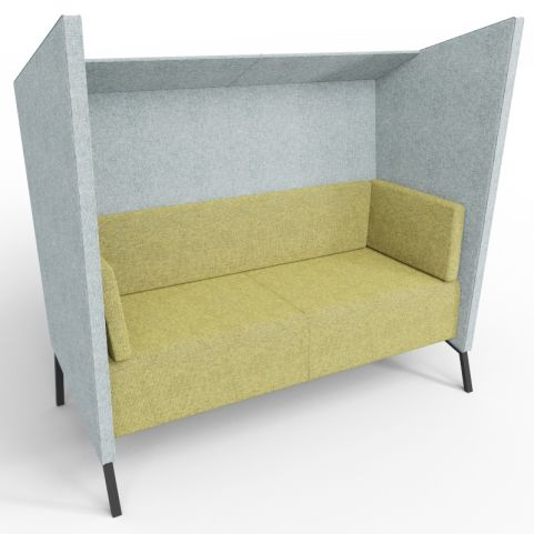 Two Person Upholstered High Back Acoustic Seating Seating In Grey And Green Fabrics With Black Legs