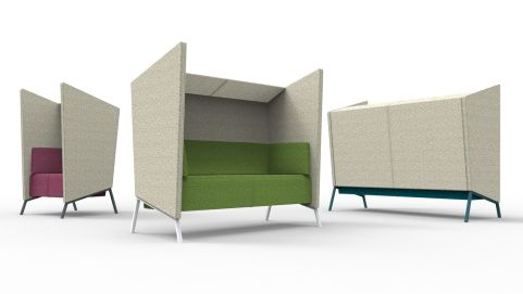 Upholstered High Back Acoustic Seating With Canopy And Side Walls For Additional Privacy, Available In A Range Of Colours