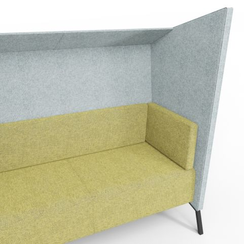 Closeup Of Two Person Upholstered High Back Seating With Rivet Textured Hopsack Fabrics