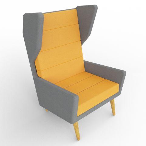 3 - Dark Grey And Orange Acoustic Seating, With Oak Legs
