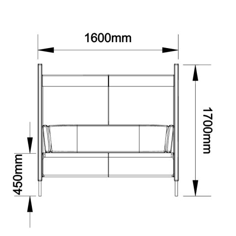 High Back Chair - Two Person - Front Dimensions