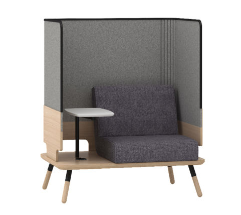 Peacework Console 1 Seater Grey Fabric High Sides