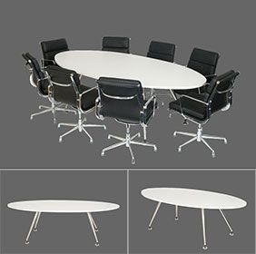 White Oval Meeting Table MW Office Reality - Elliptical conference table