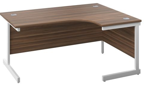 DRaycott Right Hand Radial Desk In Walnut And White