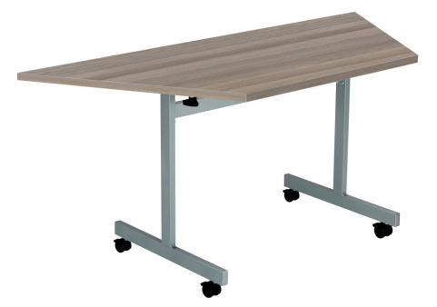 Draycott Trapezoidal Flip Top Table With A Grey Oak Top Angle View