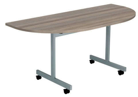Draycott Half Moon Flip Top Table With A Walnut Top Angle View