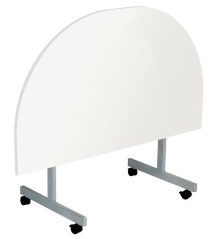 Draycott Half Moon Flip Top Table With A White Top In Folded Position Front View