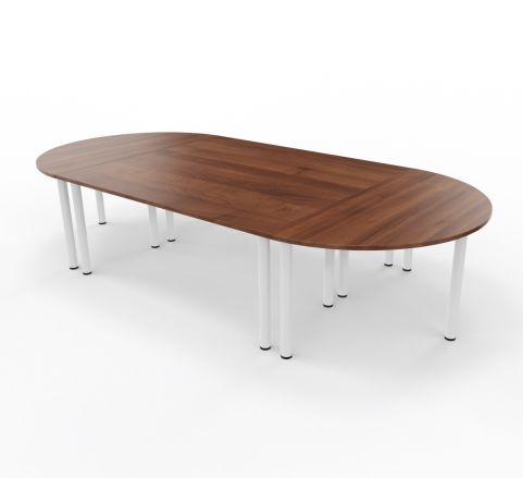 Raste Meeting Table Walnut White Legs 2 X 1800mm Tables