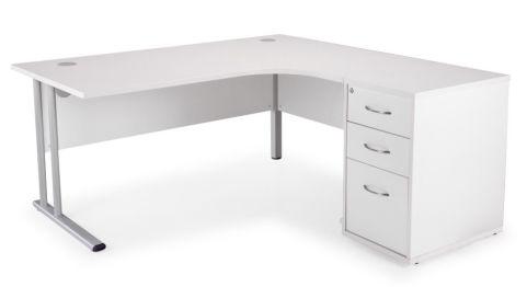 Ziggy Right Hand Corner Desk Bundle In White