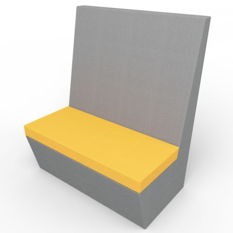 Standa 2 Person Straight Acoustic Seating - Dark Gray And Orange Fabric