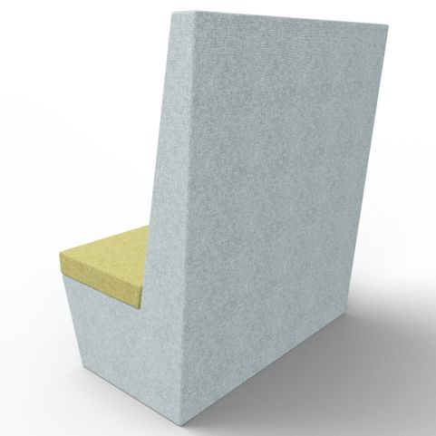 Standa 2 Person Straight Acoustic Seating - Gray And Green Fabric - Back
