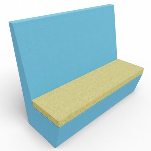 Standa 3 Seat Straight Acoustic Seating - Blue & Green Fabric