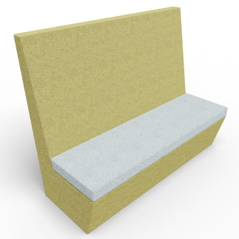 Standa 3 Seat Straight Acoustic Seating - Green & Grey Fabric