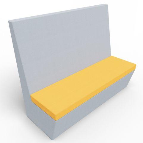 Standa 3 Seat Straight Acoustic Seating - Light Grey & Orange Fabric
