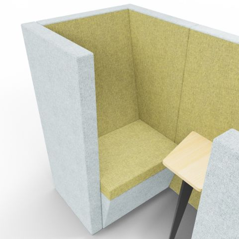 Standa 2 Person Den (with Arms) - Two Tone Grey & Green Fabric - Seat Closeup