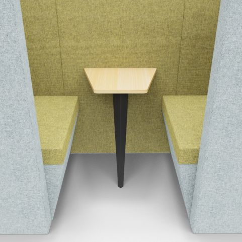 Standa 2 Person Den (with Arms) - Two Tone Grey & Green Fabric - Table Closeup