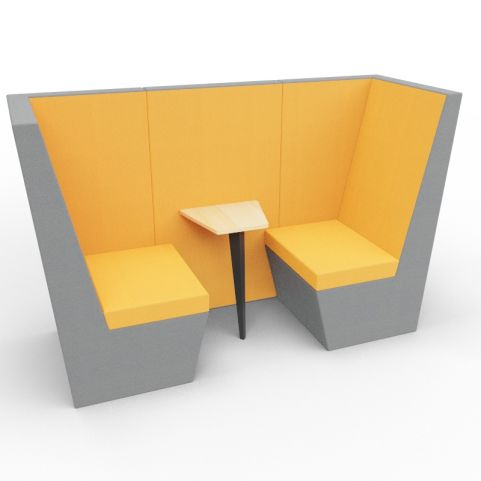 Standa 2 Person Den (without Arms) - Two Tone Dark Grey & Orange Fabric - Standard Table With Black Leg