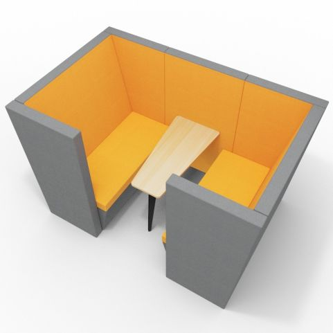 Standa 4 Person Den With Arms - Two Tone Dark Grey & Orange Fabric - Standard Beech Table With Black Leg