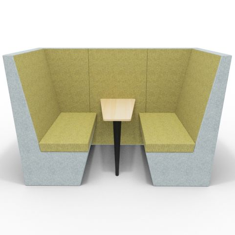 Standa 4 Person Den With Arms - Two Tone Grey & Green Fabric - Standard Beech Table With Black Leg - Front View