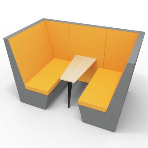 Standa 4 Person Den Without Arms - Two Tone Dark Grey & Orange Fabric - Standard Beech Table With Black Leg
