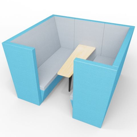 Standa 6 Person Acoustic Den - With Arms - Blue & Light Grey - Standard Table With Black Leg