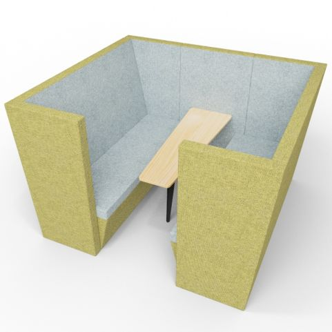 Standa 6 Person Acoustic Den - With Arms - Green & Grey - Standard Table With Black Leg