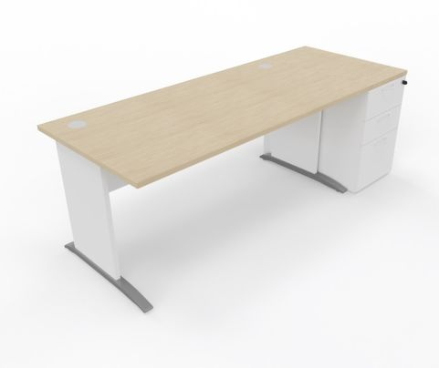 Oslo Straight Desk And DESK High Pedestal Unit - Copy