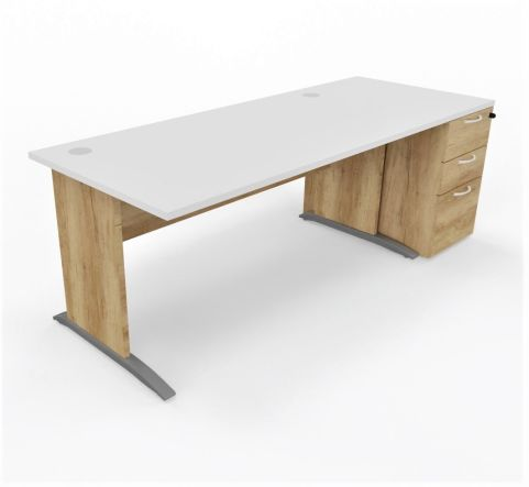 Oslo Straight Desk With Desk High Pedestal White Top