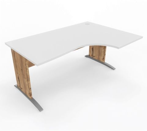 Oslo Desk Left Handed White Top Timber Legs