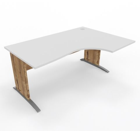 Oslo Desk Right Handed White Top Timber Legs - Copy