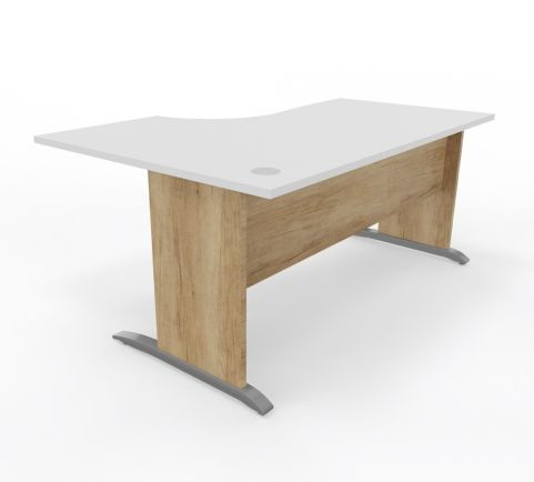 Oslo Left Hand Desk Timber Sides Whte Top