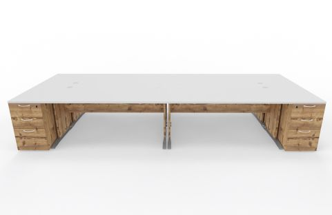 Oslo Four Person Desk Unit With Pedestals Timber And WHITE TOP