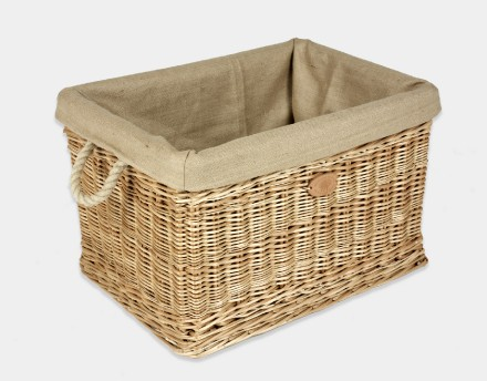 Rectangular Log Basket With Rope Handles