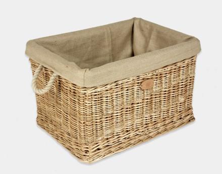 Rectangular Log Basket With Rope Handles