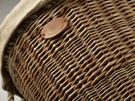 Round Log Basket With Rope Handles