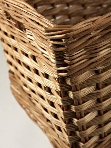 Rectangular Log Basket With Finger Holes