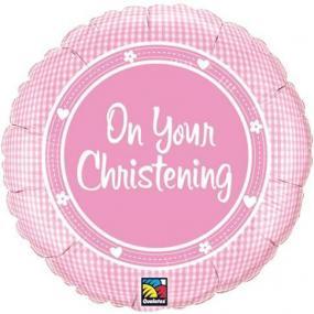 Pink Christening Foil Balloon - Gingham