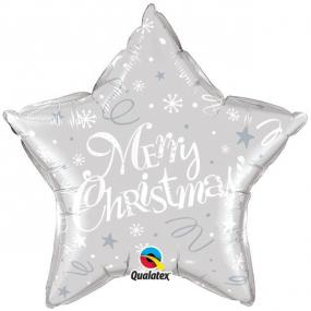Silver Merry Christmas Star Foil Balloon - 20 Inch