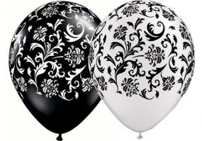 Black and White Damask Latex Balloons x 25