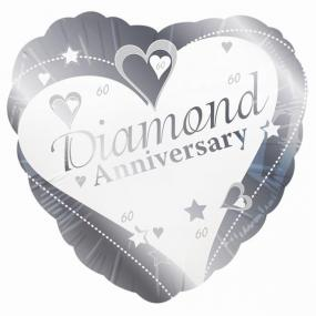 60th Diamond Wedding Anniversary Foil Balloon - Hearts and Stars