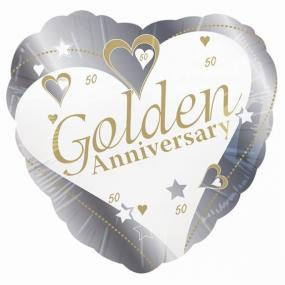 50th Golden Anniversary Foil Balloon - Hearts and Stars