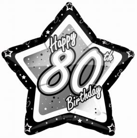80th Birthday Foil Balloon - Black and Silver Star